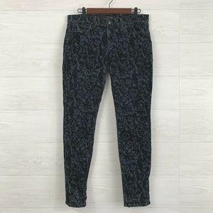 J Brand Black Velvet Floral Print Skinny Jeans